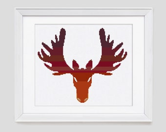 Moose cross stitch pattern, Moose counted cross stitch pattern, Moose cross stitch pattern, easy to stitch cross stitch pdf pattern