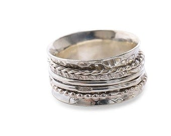 Sterling Silver Spinner Ring with 5 different sterling silver spinners