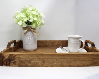 Rustic Tray with Handles, Wood Serving Tray, Tray Coffee Table Tray, Wooden Serving Tray for Ottoman, Farmhouse Wood Tray, Tray Centerpiece