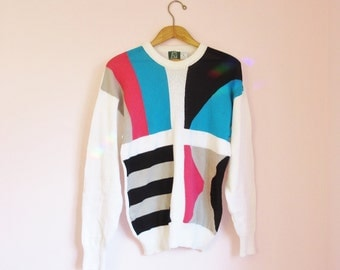 Vintage 80s Modern Abstract Print Pullover Sweater - Size M/L