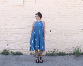 Hand Painted Midi Dress. Color Blocked. Circle Dress with Pockets