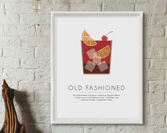 Old Fashioned Cocktail, DIGITAL PRINT, Cocktail prints, Cocktail Poster, Bar Art, Minimalist posters, Best selling items, Mixology