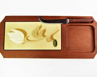 Cheese board, with knife, Cheese platter, tiled, mid century modern, teak and ceramic, Wyncraft