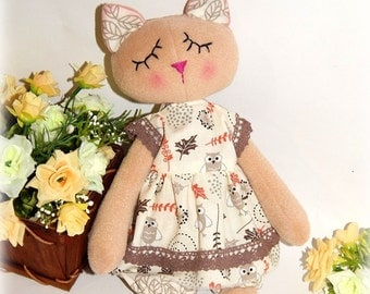 Soft cat doll with clothes, doll cat to sleep, Dress up doll cat, Fleece rag doll cat, doll with clothes, organic soft toy