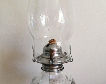 A Fantastic Vintage Lamplight Farms Clear Glass Oil Lamp. Lamplight Farms Tall Clear Glass Oil Lamp - Made In Austria.