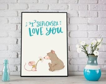 Baby nursery, I seriously love you printable, Nursery decor, Modern prints