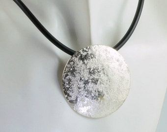 Silver Pendant large, round with stone structure/chain/rubber chain/black/bayonet/convex curved/forged/crafts/awschmuck