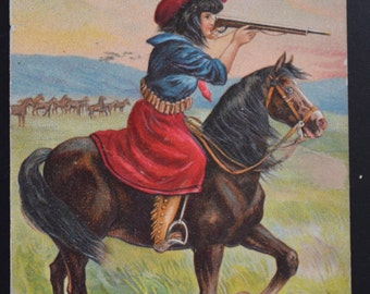 Cowgirl Postcard Girl on Horse Shooting Rifle Novelty Post Card