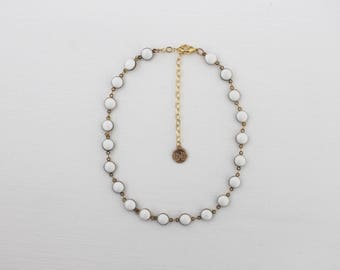 Chain Choker - White Dot