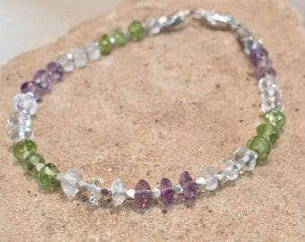 Purple and green bracelet, amethyst, peridot and crystal quartz bracelet, Hill Tribe silver bracelet, sundance style bracelet, gift for her