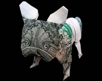 Money Origami 3D Figurine French BULLDOG Handmade of Real 1 Dollar Bill Sculpture