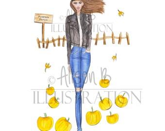 Fashion Illustration print - Fall print - Pumpkin print