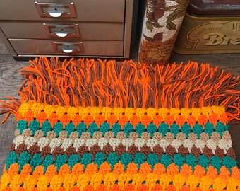 Vintage Afghan Blanket Throw Handmade Hippie