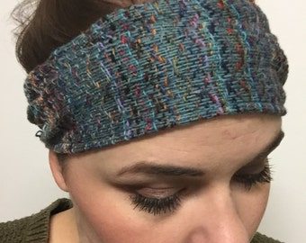 Headband handwoven batik trim cotton rayon Teal blue green multicolor turquoise