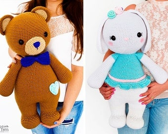 TWO CROCHET PATTERNS - Billy the Bear and Sophie the Rabbit - 21.5 in./55 cm. tall - Amigurumi Animal - Kids Gift Toy - Instant Pdf Download