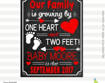 Valentines Day Pregnancy Announcement   Our Family is Growing   Pregnancy Reveal Sign   Printable Chalkboard Sign   Design PA16035