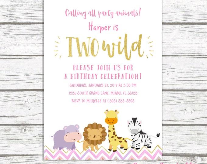 Two Wild Birthday Invitation, Safari Birthday Invitation, Pink and Gold Birthday Invitation, Birthday Invitation Girl, Printable Invitation