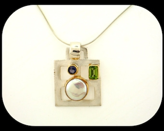 New Signed MICHOU 925 Sterling Silver 22K Gold Pearl Peridot Iolite PENDANT NECKLACE - Horizon Collection