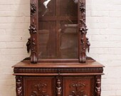 Antique French Renaissance Bookcase Display Cabinet Carved Cherubs and More #6965