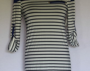 Tunic Stripe Top with Roll Up 3/4 Sleeves