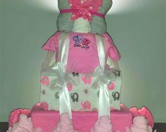 Custom Diaper Cake, Extra Large, Baby Shower Gift