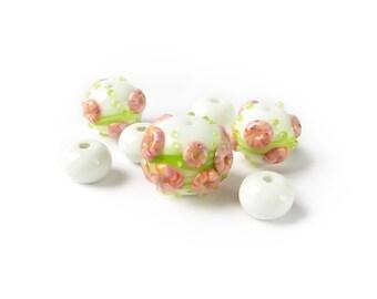 Lampwork Beads, Handmade Lampwork Glass Bead Set, Murano Glass, White Beads, Green, Pink, Murano glass, artisan beads