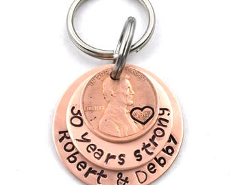 30th Anniversary - Lucky Penny - Husband Gift - Anniversary Gift Keychain - 30 Years Strong - Penny Keychain - Anniversary Keychain