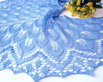 Blue Silk Lace Shawl. Openwork Scarf. Knitted Shawl. Hand Knitting. Made To Order. Lace silk wrap. Blue shawl