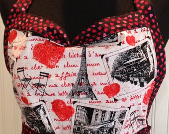 Women's ruffled full apron, Paris theme, red toile, red hearts, pink hearts, black cotton, black gingham check ruffle