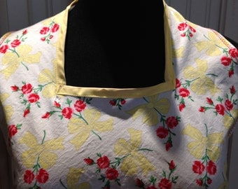 Vintage style full apron, women's apron, yellow bows, red carnations, bib neck, vintage feel, cotton, red trim, littlebird logo apron