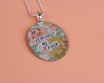 Feminist as Fu*k Handmade Resin Pendant