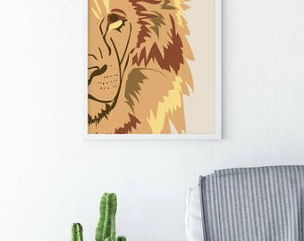Nursery Lion Print – Wall Art - Safari Nursery – Safari Nursery Art – Wall Hangings – Apartment Décor – Poster – Minimalist - Office Art
