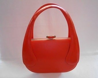 "Vintage ""Bags by Francois of California""  Handbag / Purse Bright Orange 1960's  #20048"