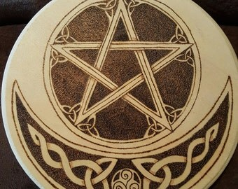 Triquetra Pentacle Wood Burned Altar Tile