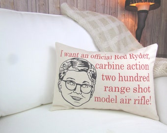 A Christmas Story Red Ryder Quote Pillow, A Christmas Story Pillow, Christmas Decor, Christmas Pillow, Ralphie Pillow, Red Ryder Pillow