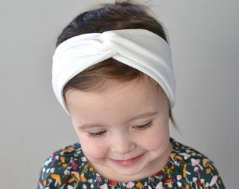 Cream Baby Turban Headband, Headwrap, Baby Headband, Baby Girl Headwrap, Adult Turban Headband,