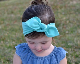 Mint Green Baby Bow, Headwrap, Baby Turban, Child's Turban, Bow Headband, Baby Headband, Hair Bow,