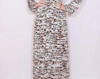 Leopard dress Long sleeve maxi dress women Animal print dress