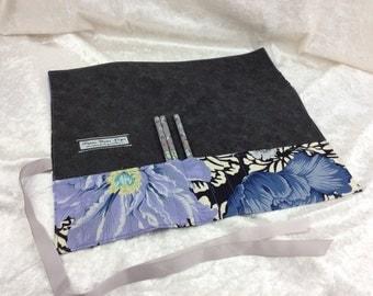Peony Pen Pencil Roll Crochet Knitting needles tool holder case Brocade Peony Kaffe Fassett Handmade in England