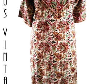 "Plus Size UK 22 Vintage 1970s Block Print  Kaftan Maxi Dress Hippie Boho Festival EU 50 US 18 Bust 48"" 122cm"