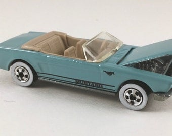 Hot Wheels Die Cast Car, Vintage 1960s Ford Mustang Convertible, Blue, Working Hood, Metal Toy, Mint Condition, Sealed in Plastic