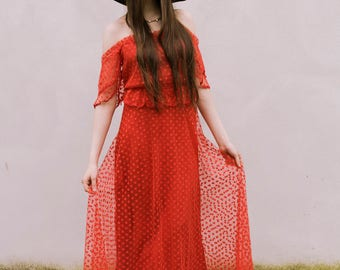 Vintage original 1970s red maxi dress with polka dot netting and off shoulder design