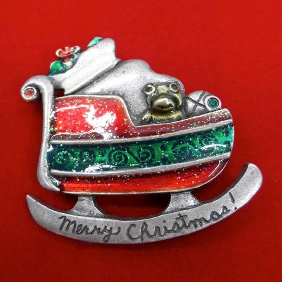 Santa Sleigh Merry Christmas AJMC Enamelled Pewter VintageBrooch