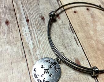 Wanderlust bangle bracelet, Adjustable bangle bracelet, Follow your own arrow bracelet, gift for her