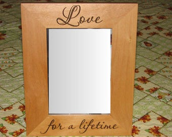 Laser Engraved Wood Picture Frame - Love for a lifetime - Anniversary gift, Wedding gift, engraved picture frame