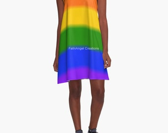 Gay Pride Flag A-Line Dress, 6 Sizes Available!