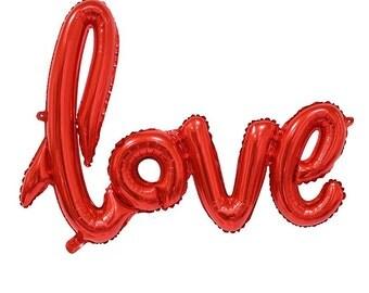 "Skript Liebe Ballon 40"" rot. Gold Liebe Luftballons. Jumbo Liebe Ballon. Hochzeitsdeko. Brautdusche Dekor. Verlobungsfeier. Jahrestag"