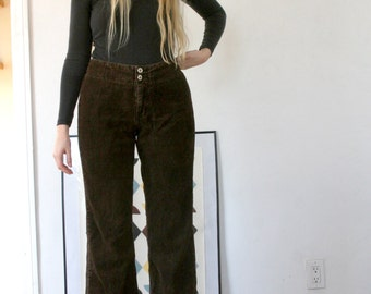 90's Vintage Thick Corduroy Brown Flare Pants