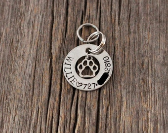 Washer shaped  hand stamped dog ID tag / small dog or cat tag / dog tags for dogs / ID tag