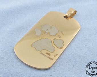 Pet Paw Engrave, handwriting on Stainless Steel Army Tag Necklace/Keyring